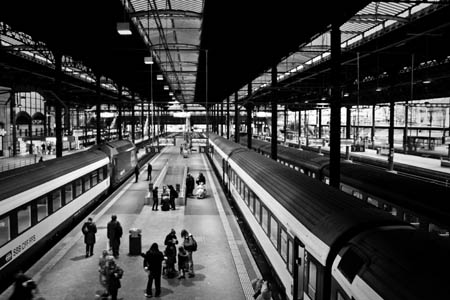 Scenic picture of a train station taken in Black & White