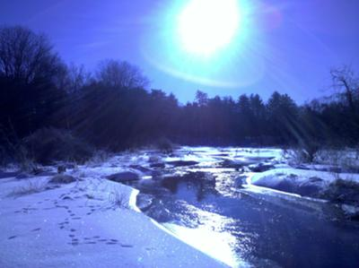 Winter light on the Fort Pond Brook in Acton, Ma.