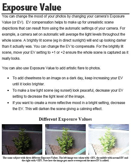 Example Of Exposure Values Written By David Peterson