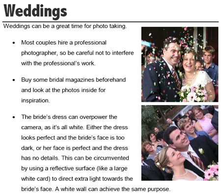 An excerpt of the wedding section of Digital Photography Secrets