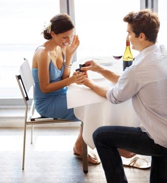Man Proposing To A Woman During Dinner