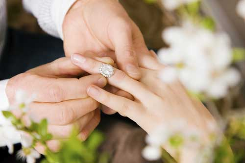 Close Up Shot Of Engagement Ring Being Put On To Woman's Finger