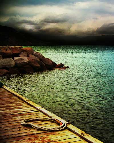 Colorful landscape photography of a Pier on the edge of a lake